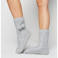 Grey Cable Knit Pom Pom Slipper Socks New Look