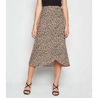 Brown Abstract Spot Print Wrap Midi Skirt New Look