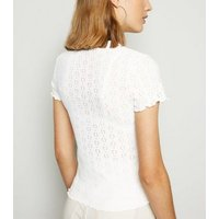 Off White Broderie Frill Trim T-Shirt New Look