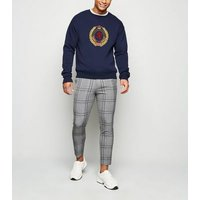 Dark Grey Check Skinny Crop Trousers New Look