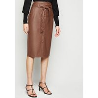Tan Leather-Look High Waist Pencil Skirt New Look
