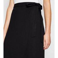 Black Wrap Midi Skirt New Look