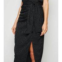 Black Jacquard Satin Midi Skirt New Look