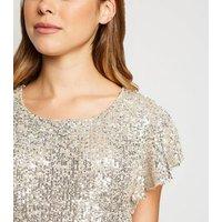 Gold Sequin Flutter Sleeve Mini Dress New Look