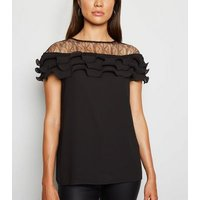 Black Lace Panel Pleated Ruffle Blouse New Look