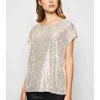 Gold Sequin Oversized T-Shirt New Look