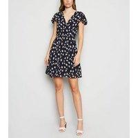 Mela Blue Floral Ruffle Sleeve Wrap Dress New Look