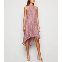 Mela Pink Lace Dip Hem Halter Neck Dress New Look