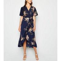Mela Blue Floral Ruffle Wrap Maxi Dress New Look
