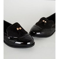 Extra Wide Fit Black Patent Tassel Loafers New Look Vegan