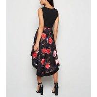 Mela Black Floral 2 Tone Dip Hem Dress New Look