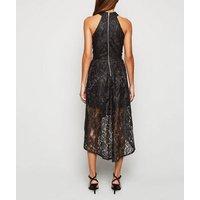 Mela Black Lace Dip Hem Halter Neck Dress New Look