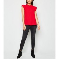 Petite Red Frill Trim Sleeveless Top New Look
