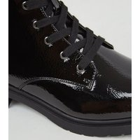 Wide Fit Black Patent Lace Up Boots New Look
