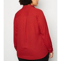 Curves Red Spot Long Sleeve Shirt New Look