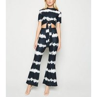 Cameo Rose Black Tie Dye Flared Trousers New Look