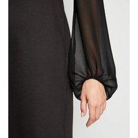 Black Chiffon Puff Sleeve Dress New Look