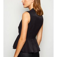 Black Shimmer Peplum Top New Look