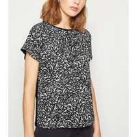 Black Animal Print Crepe Front T-Shirt New Look
