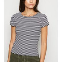 White Stripe Frill Trim T-Shirt New Look
