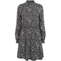 Black Floral Shirred High Neck Dress New Look