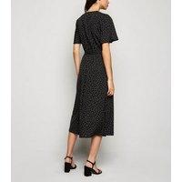 Black Spot Wrap Midi Dress New Look