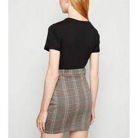Light Grey Check Mini Tube Skirt New Look