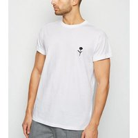 White Rose Embroidered T-Shirt New Look