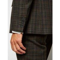 Dark Brown Check Suit Jacket New Look