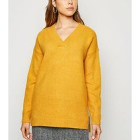 Mustard Knit V Neck Longline Jumper New Look