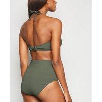 Olive Chevron Bandeau Bikini Top New Look