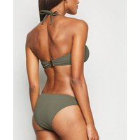 Olive Chevron V Front Bikini Bottoms New Look
