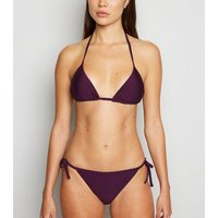 Dark Purple High Shine Triangle Bikini Top New Look