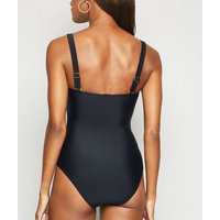 Black Square Neck Swimsuit New Look