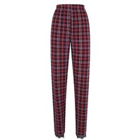 Tall Red Check Lace Trim Pyjama Trousers New Look