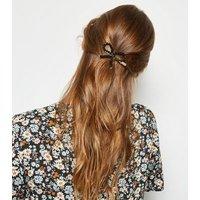 Black Beaded Bow Hair Slide New Look