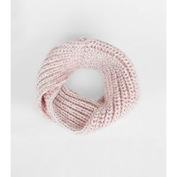 Girls Pink Knit Space Dye Snood New Look