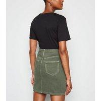 Khaki Contrast Stitch Denim Mini Skirt New Look