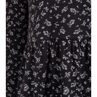 Black Floral Soft Touch Smock Dress New Look