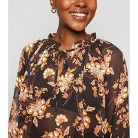 Black Floral Chiffon Frill Tie Neck Blouse New Look