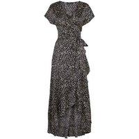 Black Satin Spot Ruffle Trim Midi Dress New Look