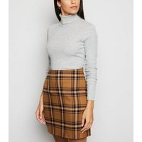 Brown Check A-Line Mini Skirt New Look