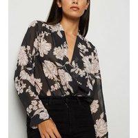 Black Floral Print Wrap Bodysuit New Look
