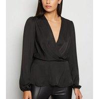 Black Satin Long Sleeve Wrap Top New Look