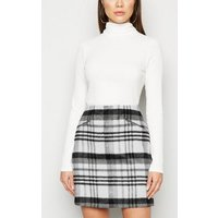 White Brushed Check Mini Skirt New Look