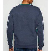 Teal Worldwide Slogan Colour Block Sweatshirt New Look