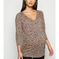 Maternity Brown Leopard Print T-Shirt New Look
