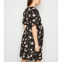 Maternity Black Floral Tie Waist Dress New Look