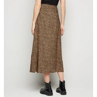 Tall Brown Leopard Print Wrap Midi Skirt New Look