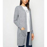 Pale Grey Fine Knit Pocket Cardigan New Look